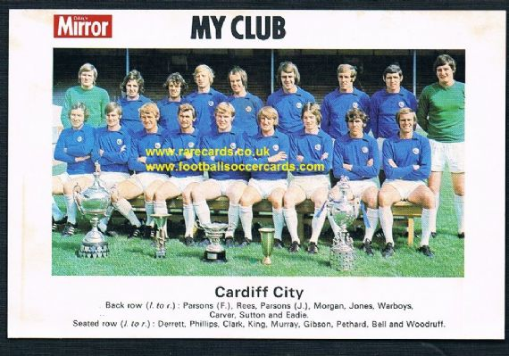 1970 My Club Daily Mirror postcard-size card Cardiff City
